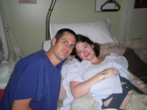 My husband Simon and I a few minutes before Ethan was born